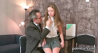 Cuddly bookworm was seduced and plowed by her older teacher