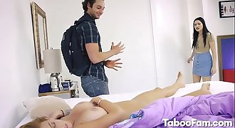 Karly Baker Providing Blowjob and Boned by Large Dick Near Stepmom