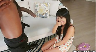 Shy Asian Amazed at Black Cock